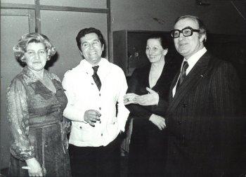 Polovina (derecha), junto a Nada Mamula, Safet Isović y Ksenija Cicvarić: Póquer de ases